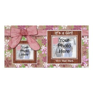 announcement pretty pink and green bow girl baby birth announcement
