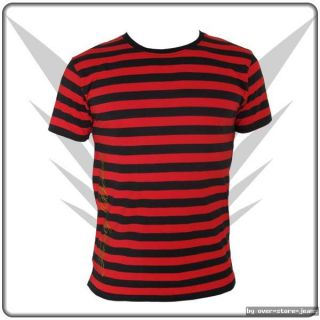 FancyBeast Schwarz Rot Clubwear Streifen T Shirt Gr.M