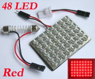 Red Car Interior Light Panel 48 LED SMD +Dome + T10 12V