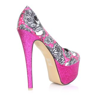 WOMENS LADIES IRON FIST BRIGHT LIGHT PLATFORM HIGH HEEL GLITTER SHOES