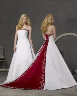 New* White+Red Wedding dress bridesmaids gown Stock Size 6 8 10 12