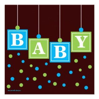 BABY Blocks Blue Green Boy Baby Shower Announcement