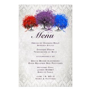 Purple Heart Leaf Tree Wedding Invitations