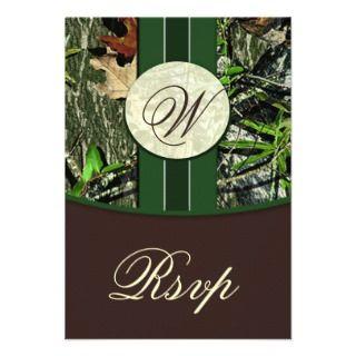 Monogram Camo Wedding RSVP Cards Custom Invitations