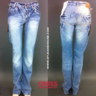 Cross Lorenzo W28 L34 189 186 helle blaue Jeans Used Wash Relax Fit