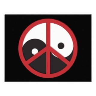 Yin Yang with Peace sign   red Custom Announcement