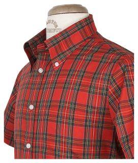 Brutus Trimfit Mod Skin Retro Red Tartan S/S Shirt