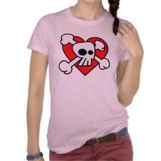 Emo Skull Heart T Shirt