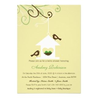 Bird House TWINS Shower Announcement