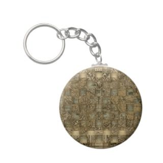 Old World Map Weave II Key Chains