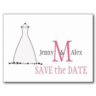 Honeysuckle Pink Save the Date Cards Wedding Dress Postcard
