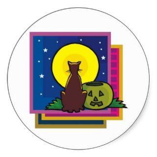Black Cat Silhouette Moonlight Sticker