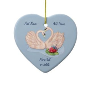 Swan Pair   Customize Christmas Ornament