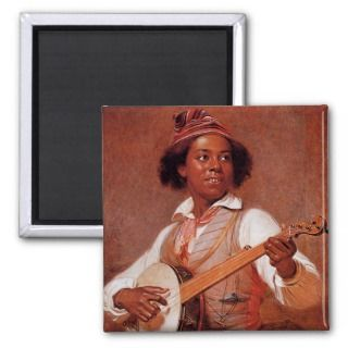 black americana banjo player magnet