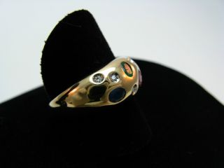 R197 585er 14kt Gelbgold Gold Ring Bandring mit Steingarten Saphir