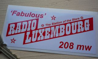 Pirate Radio Luxembourg 208 1960s style car sticker