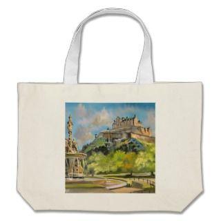 Edinburgh castle oil painting Gordon Bruce art Canvas Bags