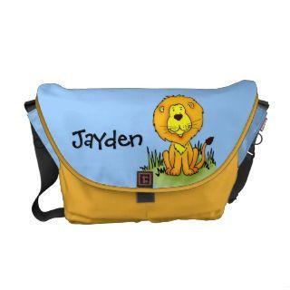 Lion your name sky blue & yellow kids school bag messenger bags