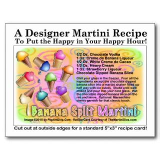 Banana Split Ice Cream Martini Recipe Card Post Cards