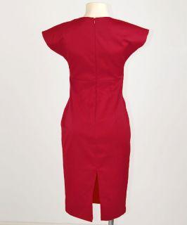 Maroon Red Victoria Posh Deep V Neck Mad Men Rockabilly Pencil Kleid