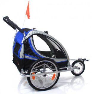 Fahrradanhänger Kinderanhänger Jogger blau ALUMINIUM