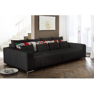 Big Sofa Cassian 300x145 cm Schwarz Couch mit Schlaffunktion