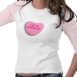 LETS HOOKUP pink bevel Tee Shirt