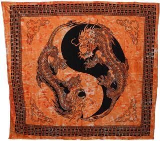Überwurf Decke Indien Drachen Ying Yang Motiv Nr.215