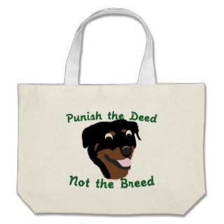 Deed Not Breed Rottweiler Canvas Bag