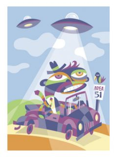 A Man Being Abducted by Aliens While Driving by Area 51 Prints