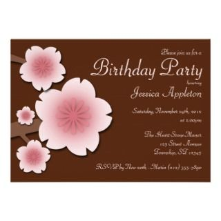 Pink & Brown Cherry Blossom Birthday Party Personalized Announcement