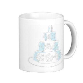 Three Tiered Wedding Cake with Snowflake Trim Coffee Mugs
