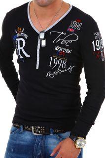 RBC by CIPO & BAXX Longsleeve T Shirt Deep V Neck Poloshirt Schwarz