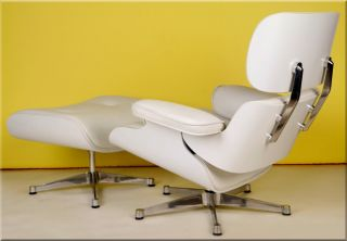 Apex Lounge Chair and Ottoman White Leather Plain Wood Charles Eames
