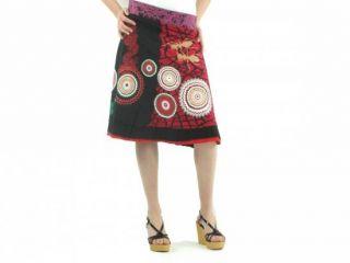 DESIGUAL WOMEN ROCK GR. M 38 ROT SCHWARZ ELISA RED BLACK PRINT RÖCKE