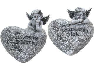 Grabschmuck Grab Herz Engel In liebevoller Erinnerung Grabstein