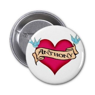 Anthony   Custom Heart Tattoo T shirts & Gifts Pin