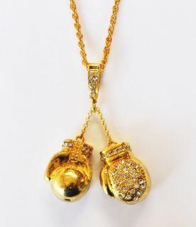 NEW Bling Diamante & Gold Boxing Gloves Pendant