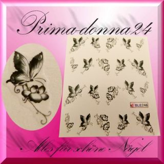 Nail Tattoos Tattoo Sticker Water Schmetterlinge Blumen 248