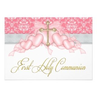 Pink Gray Gold Cross Girls Pink First Communion Personalized Invite