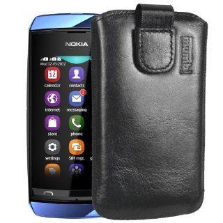 mumbi ECHT Ledertasche Nokia Asha 305 306 Tasche Leder Etui   Lasche