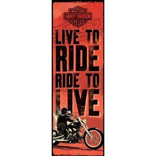 1art1 51468 Harley Davidson   Live To Ride Tür Poster (158 x 53cm)