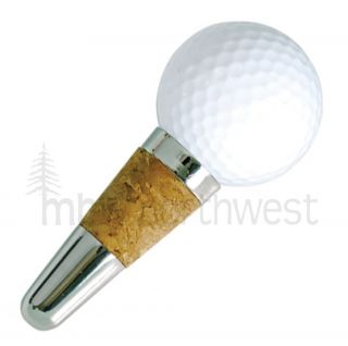 GOLF BALL WINE BOTTLE STOPPER   SECURE CORK SEAL   FUN GOLF LOVER GIFT