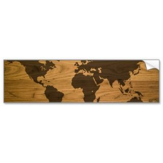Wood Grain World Map Bumper Sticker