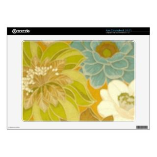 Vintage Floral Wallpaper, Turquoise Green & Brown Acer Chromebook