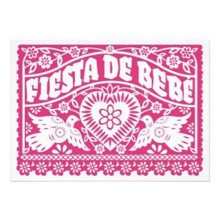 Fiesta de Bebe Pink Love Birds Banner Invitation