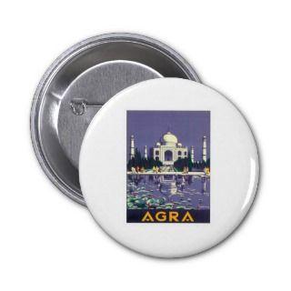 Vintage Taj Mahal Agra India Travel Poster Art Pin