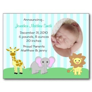 Baby Animals Birth Announcements Postcard (TBA)