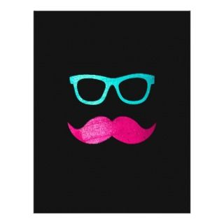 Funny Pink mustache teal hipster glasses Black Letterhead Template