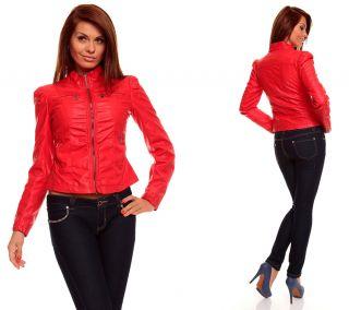 Damen Lederjacke aus Lederimitat Bikerjacke Biker Jacke Blazer XS bis